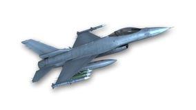 Реактивный истребитель принимая, военный самолет изолированный на белизне Стоковые Фото