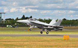 Реактивный истребитель F-18 на Фарнборо Airshow 2016 Стоковое фото RF