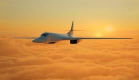 Реактивный самолет на предпосылке неба 3d представляют стоковое изображение