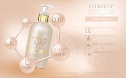 Реалистическая бутылка жидкостного мыла с насосом на мягкой бежевой предпосылке бесплатная иллюстрация