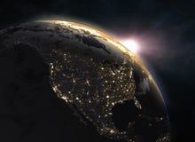 Реалистическая земля планеты в космосе стоковые фотографии rf