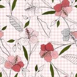Реалистическая изолированная безшовная картина цветка комплект сбора винограда Wallpap иллюстрация штока