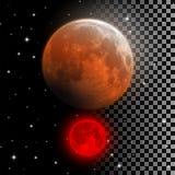 Реалистическая иллюстрация вектора луны крови Стоковые Фото