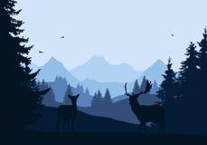 Реалистическая иллюстрация ландшафта горы с лесом и 2 бесплатная иллюстрация