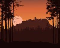 Реалистическая иллюстрация ландшафта горы с coniferous лесом и руины старого замка на холме Поднимать или заходящее солнце или лу иллюстрация штока