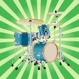 Реалистическая иллюстрация набора барабанчика на предпосылке лучей Стоковое Изображение RF