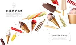 Реалистическая концепция мороженого иллюстрация штока