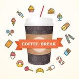 Реалистическая концепция перерыва на чашку кофе бумажного стаканчика 3d вектор иллюстрация штока