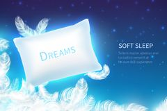 Реалистическая концепция сна Мягкая подушка сна с насмешкой пер, облаков и неба звездной ночи вверх Мечта и остатки 3D иллюстрация штока