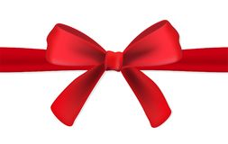 Реалистическая красная лента сатинировки подарка с смычком на белой предпосылке также вектор иллюстрации притяжки corel Стоковые Изображения