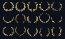 Золотой лавровый венок Реалистическая крона, приз победителя форм лист, foliate эмблемы гребня 3D Силуэты лавра вектора и иллюстрация штока