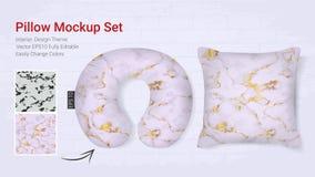 Реалистическая шея перемещения pillows шаблон модель-макета и случай валика крышки иллюстрация штока
