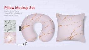 Реалистическая шея перемещения pillows шаблон модель-макета и случай валика крышки иллюстрация вектора