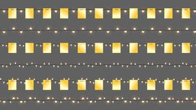 Реалистические гирлянды Cristmas вектора Изолированные гирлянды с золотыми флагами и сияющими лампами Шаблон вектора с светом Стоковые Изображения