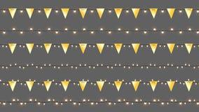 Реалистические гирлянды Cristmas вектора Изолированные гирлянды с золотыми флагами и сияющими лампами Шаблон вектора с светом Стоковая Фотография