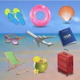 Реалистические значки пляжа взморья летних отпусков установили изолированный на предпосылке вектора взморья Стоковые Фотографии RF
