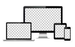 Реалистические компьютер, компьтер-книжка, таблетка и мобильный телефон при прозрачный изолированный экран обоев иллюстрация штока