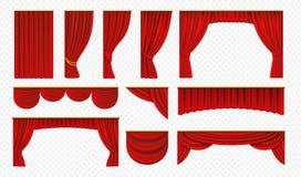 Реалистические красные занавесы Drapery этапа театра, роскошное украшение крышки свадьбы, театральные границы Шелк оперы вектора иллюстрация штока