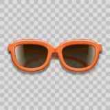 Реалистические красные солнечные очки 3d чернят объективы на прозрачной предпосылке вектор иллюстрация вектора
