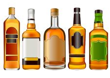 Реалистические красочные бутылки спирта бесплатная иллюстрация