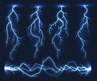 Реалистические молнии Гроза шторма света грома электричества внезапная в облаке Обязанность энергии силы природы, гром бесплатная иллюстрация