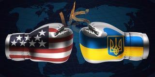 Реалистические перчатки бокса с печатями США и украинского fla иллюстрация штока