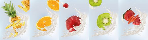 Реалистические плоды киви, апельсин, ананас, поленика, клубника с молоком брызгают близкую вверх r r иллюстрация штока