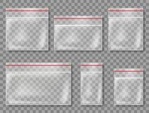 реалистические полиэтиленовые пакеты на прозрачной предпосылке бесплатная иллюстрация