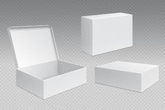 Реалистические упаковывая коробки Белый открытый пакет картона, пустые торгуя продукты глумится вверх Контейнер коробки квадратны иллюстрация штока
