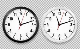 Реалистические часы офиса Круг стены наблюдает со стрелками времени и изолированными циферблатом часами вектора 3d черно-белыми бесплатная иллюстрация