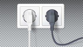 Реалистические черно-белые штепсельные вилки введенные в электрический выход, на прозрачном Значок прибора для соединяться бесплатная иллюстрация