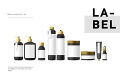 Реалистические черные косметические cream контейнер и трубка для сливк, мази, зубной пасты, насмешки лосьона вверх по бутылке Стоковое Изображение