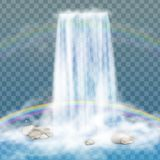 Реалистический водопад с чистой водой, радугой и пузырями Естественный элемент для изображений ландшафта дизайна на прозрачном ба Стоковая Фотография