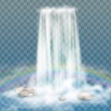 Реалистический водопад с чистой водой, радугой и пузырями Естественный элемент для изображений ландшафта дизайна на прозрачном ба Стоковые Изображения