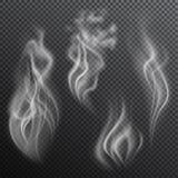 Реалистический дым на прозрачной предпосылке Иллюстрация штока