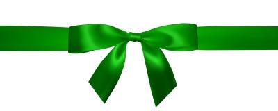 Реалистический зеленый смычок с горизонтальными зелеными лентами изолированными на белизне Элемент для подарков украшения, привет иллюстрация вектора