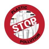Реалистический знак бутылки и запрета останавливает использовать пластичное загрязнение для иллюстрации предпосылки кампании окру бесплатная иллюстрация