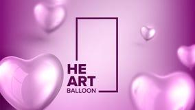 Реалистический красочный вектор символа любов воздушных шаров иллюстрация штока