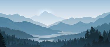 Реалистический ландшафт гор Силуэты панорамы, сосен и гор утра деревянные Предпосылка леса вектора бесплатная иллюстрация