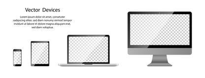 Реалистический монитор телефона, планшета, ноутбука и компьютера с прозрачным экраном на пустой предпосылке иллюстрация вектора