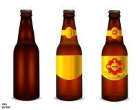 Реалистический набор пивной бутылки, вектор иллюстрация вектора