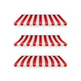 Реалистический набор striped красных и белых тентов Шатры или крыши ткани для розничного магазина Иллюстрация вектора изолированн бесплатная иллюстрация