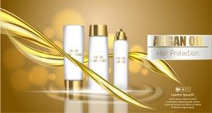 Реалистический пакет косметики шаблона выплеск 3d жидкостного масла Брызгать масло argan, продукт косметик предохранения от волос иллюстрация вектора