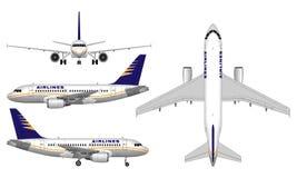 Реалистический самолет пассажира Стоковое Изображение