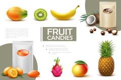 Реалистический сладкий состав конфет плода иллюстрация вектора