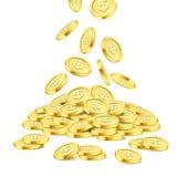 Реалистический стог золотой монетки на белой предпосылке чеканит золотистый дождь Падая деньги на куче Джэкпот или казино Bingo Стоковые Фото