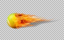 Реалистический теннисный мяч вектора в огне на прозрачной предпосылке Стоковые Фотографии RF