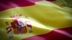 Реалистический флаг Испании развевая с сильно детальной текстурой ткани акции видеоматериалы