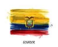 Реалистический флаг картины акварели эквадора вектор Стоковая Фотография