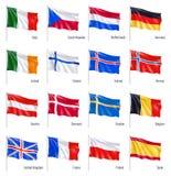 Реалистический флаг положений Европы Иллюстрация вектора изолированная на белой предпосылке стоковая фотография rf